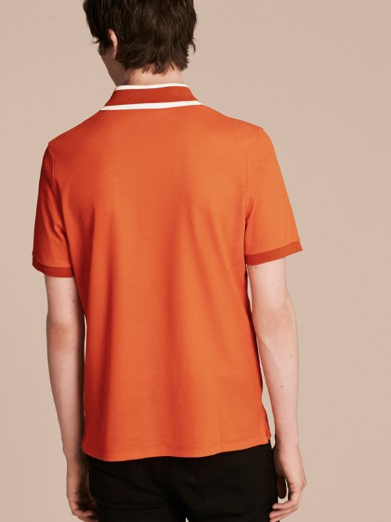 Striped Collar Cotton Piqué Polo Shirt Clementine - cell image 2