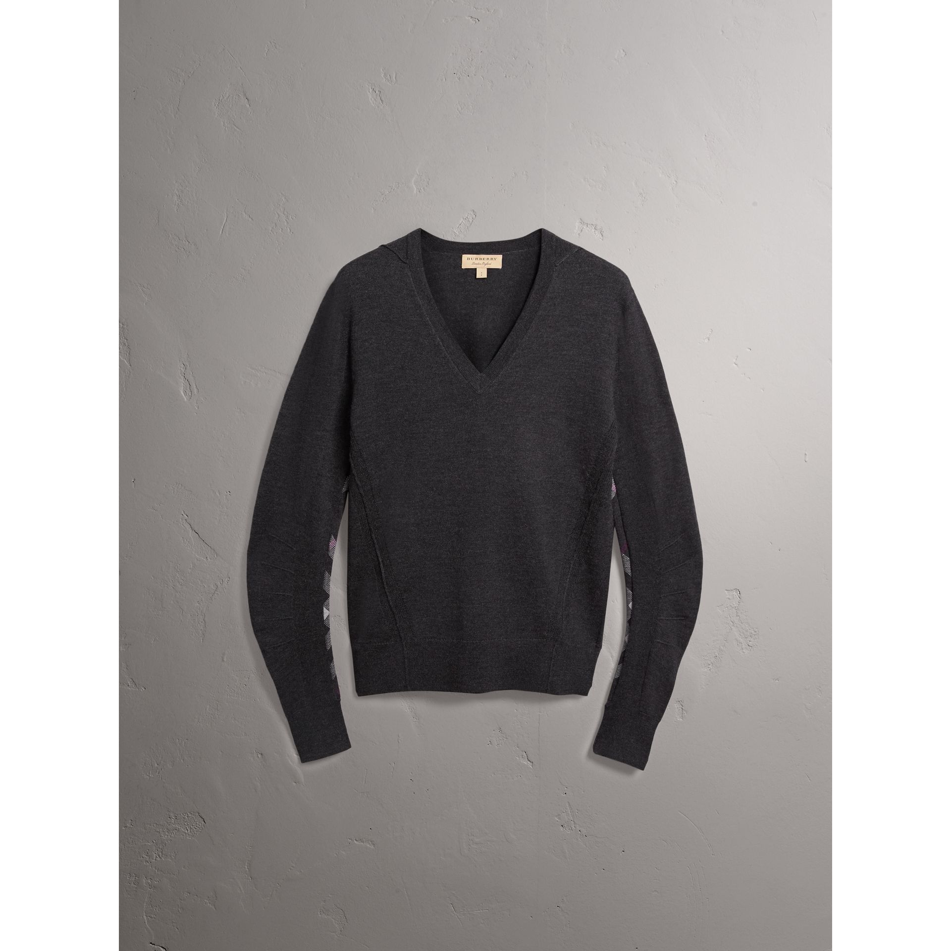 Check Detail Merino Wool V-neck Sweater in Charcoal - Men | Burberry United Kingdom - gallery image 3