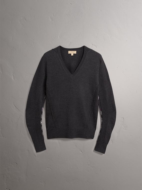 Check Detail Merino Wool V-neck Sweater in Charcoal - Men | Burberry Singapore - cell image 3