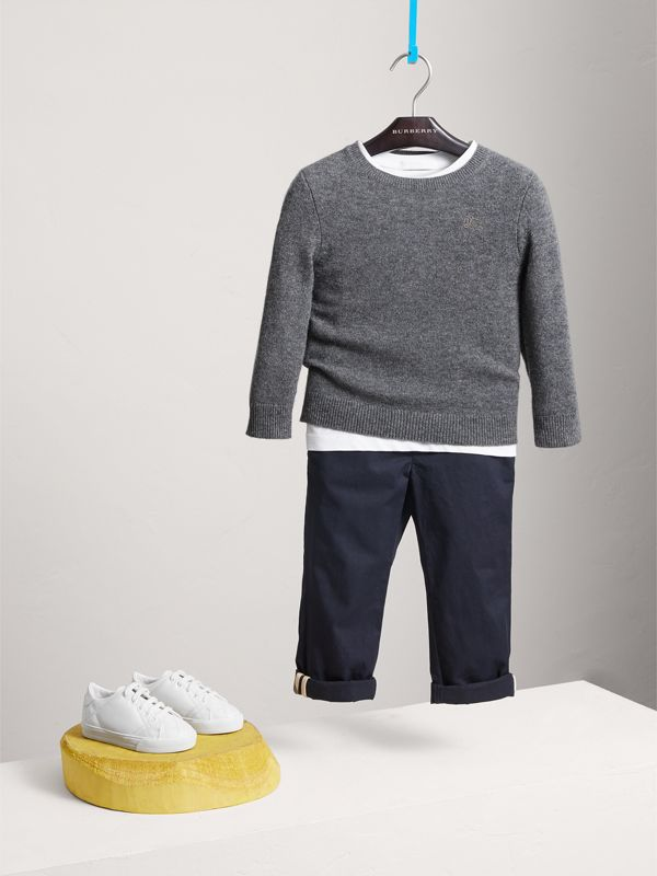 Check Elbow Patch Cashmere Sweater in Mid Grey Melange - Boy | Burberry - cell image 2