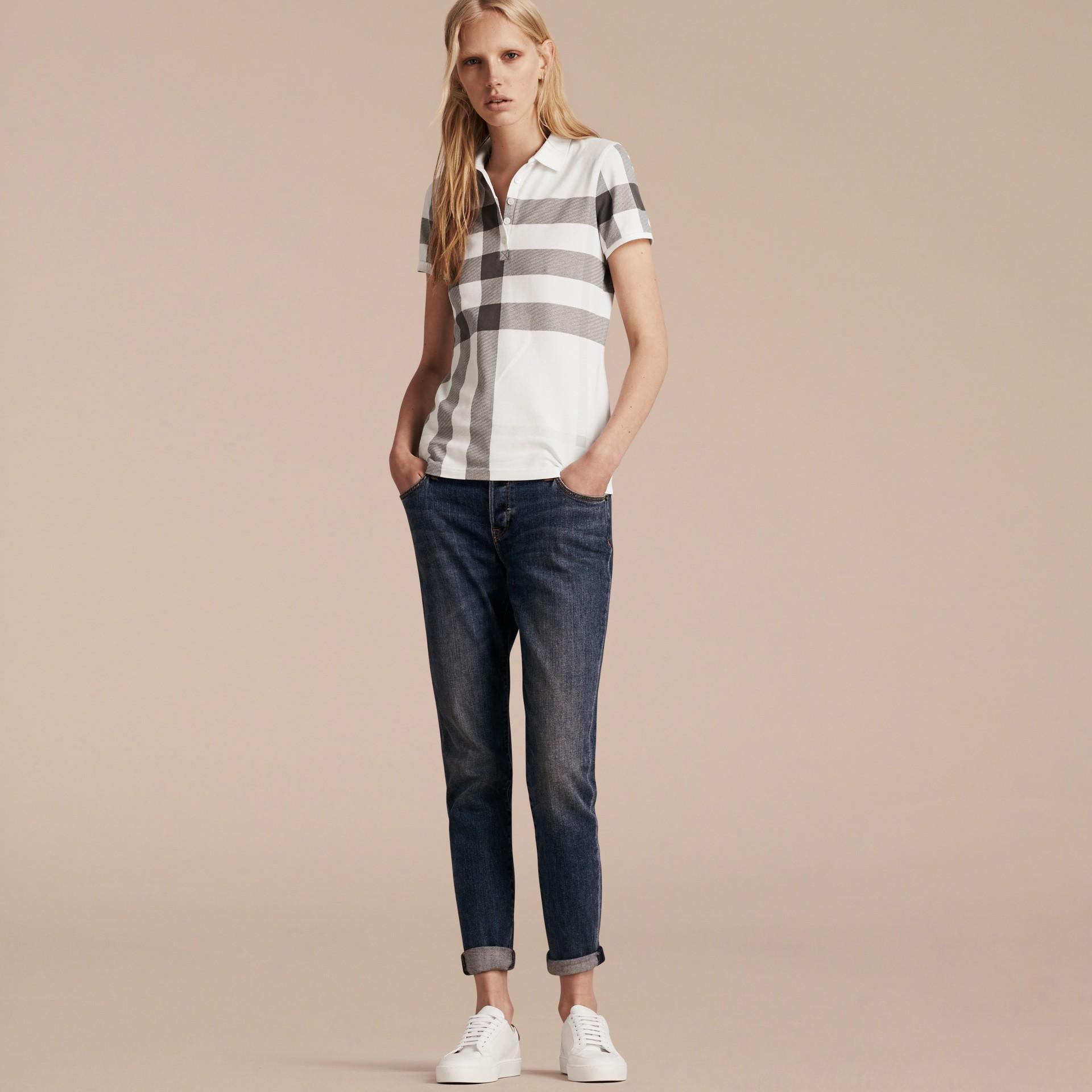 Blanc Polo en piqué de coton extensible à motif check Blanc - photo de la galerie 6