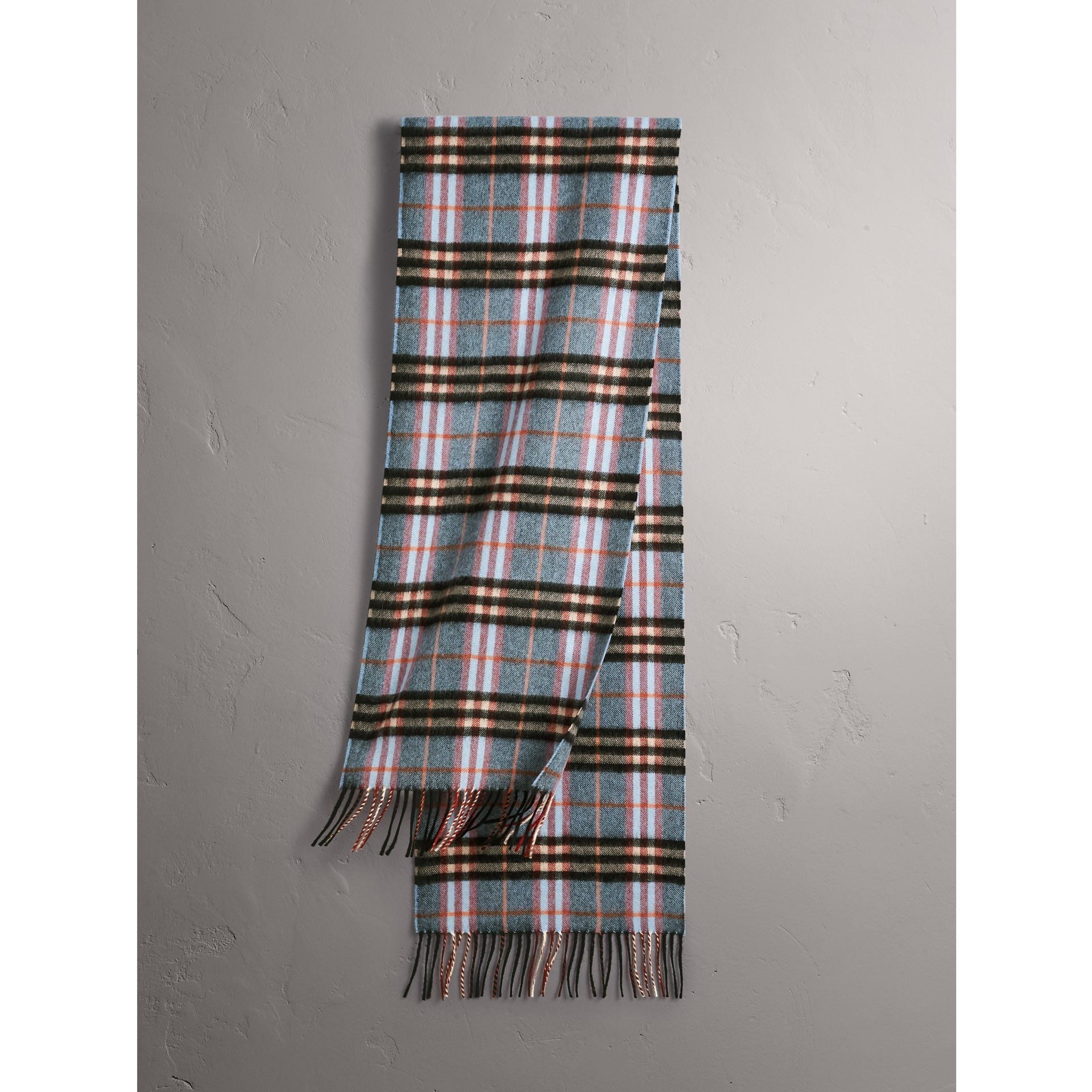 Check Cashmere Scarf in Pale Carbon Blue | Burberry - gallery image 1