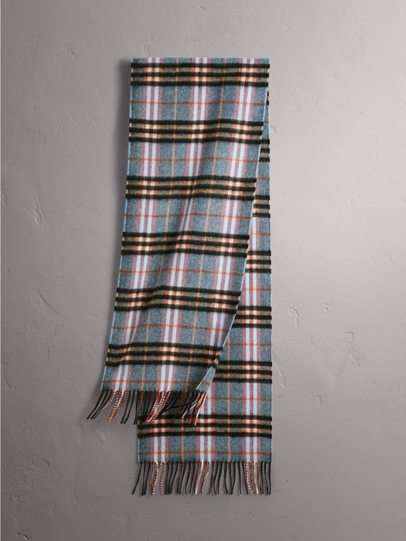Check Cashmere Scarf in Pale Carbon Blue | Burberry