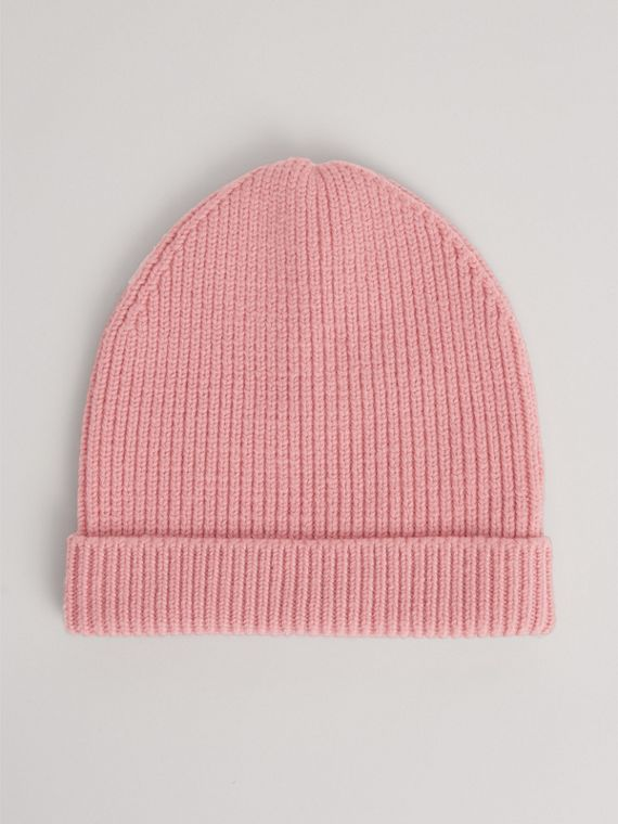Patch Detail Merino Wool Beanie in Dusty Pink | Burberry Australia - cell image 3