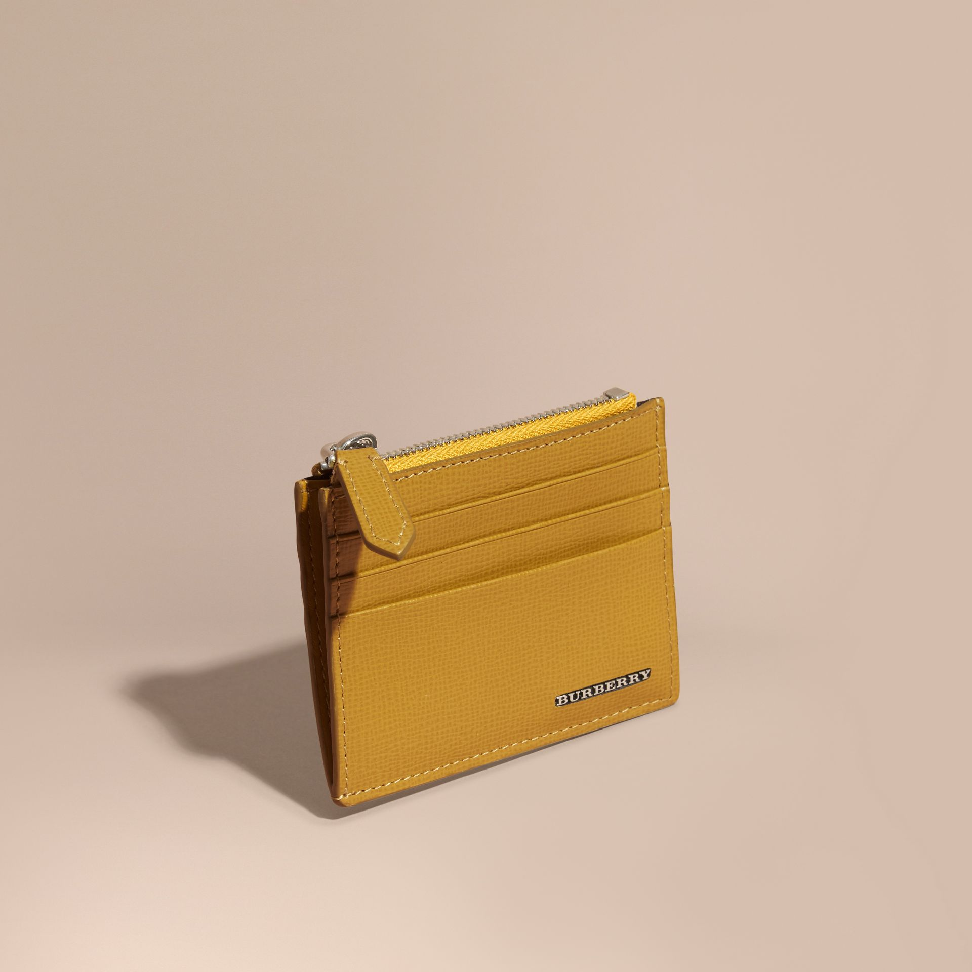 London Leather Zip-top Card Case in Larch Yellow - gallery image 1