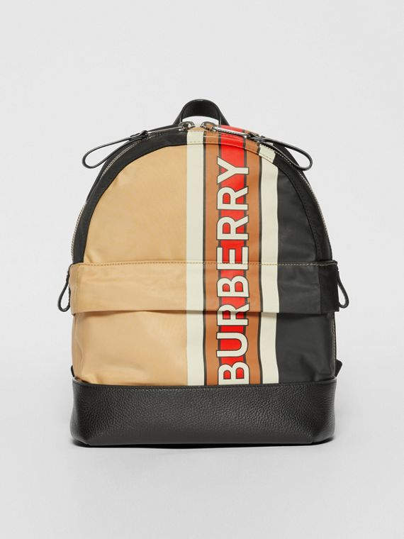 Logo Print Striped ECONYL® Backpack in Archive Beige