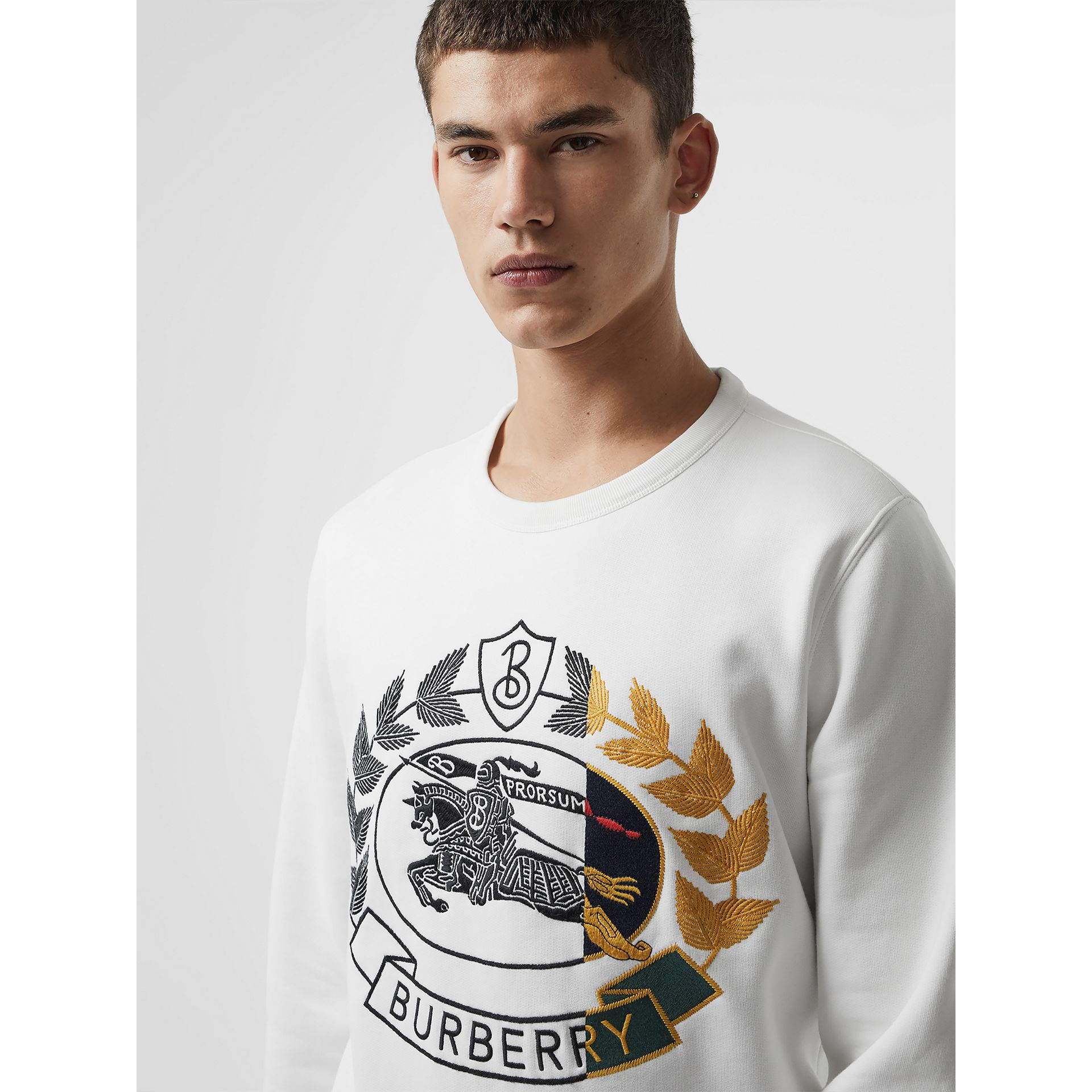 Embroidered Crest Jersey Sweatshirt in White - Men | Burberry - gallery image 1