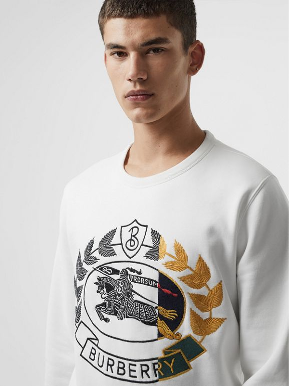 Embroidered Crest Jersey Sweatshirt in White - Men | Burberry Singapore - cell image 1