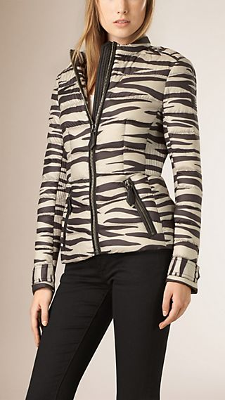 Zebra Print Down-filled Jacket