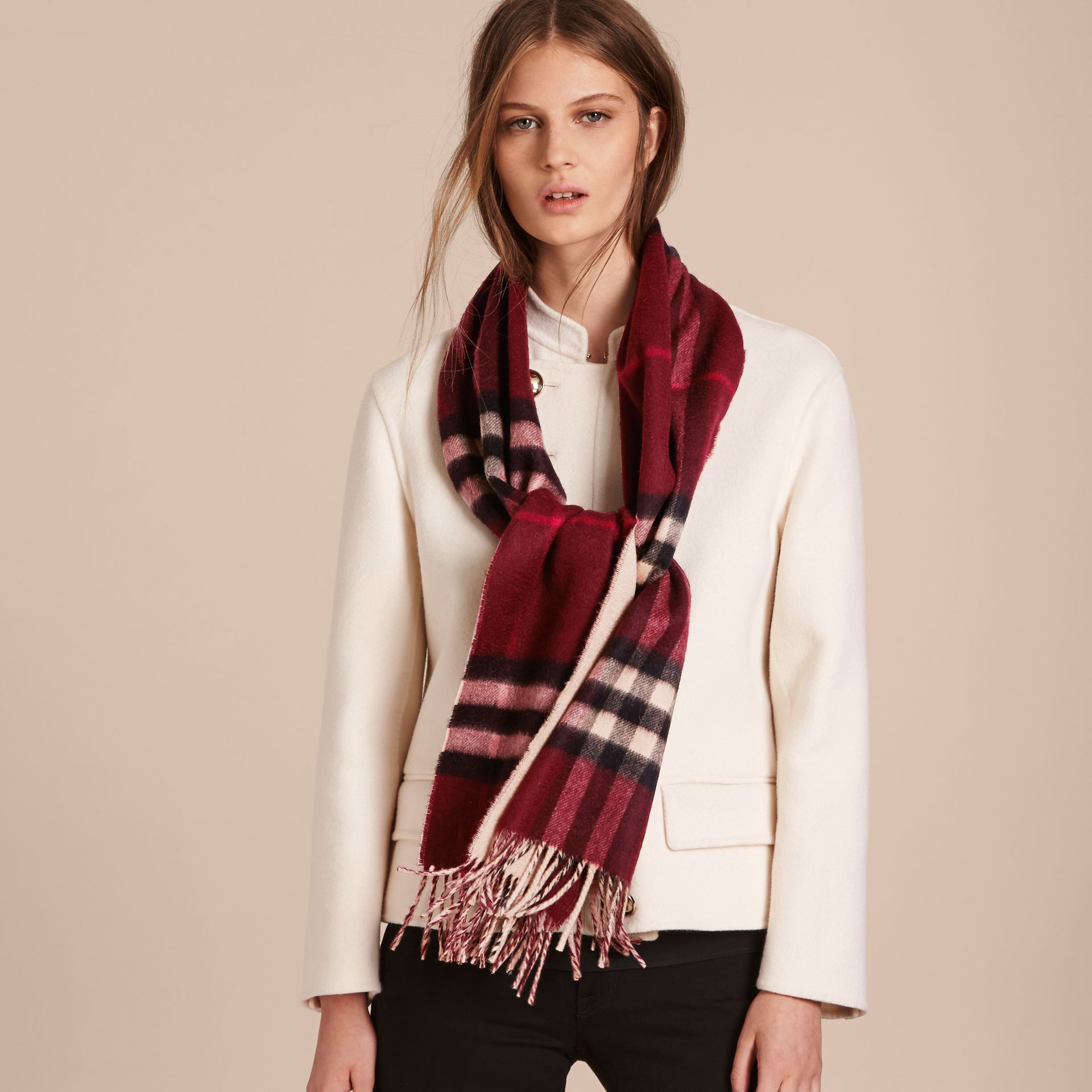 Reversible Check Cashmere and Block-colour Scarf in Claret - gallery image 3