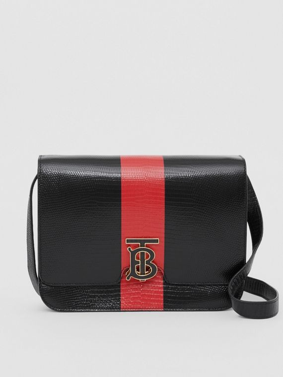 Medium Striped Embossed Leather TB Bag in Black