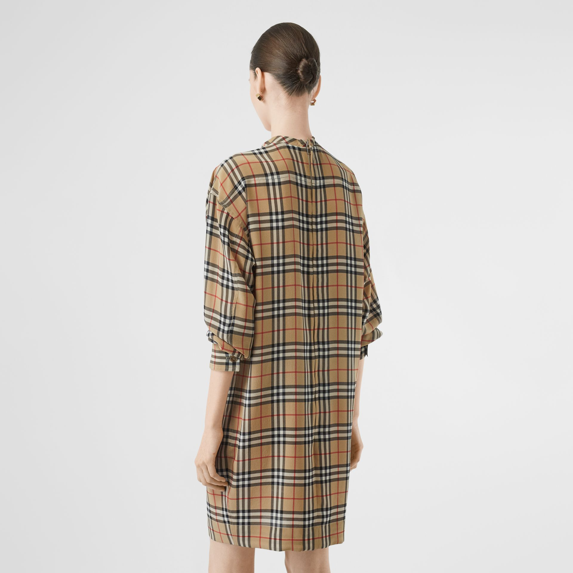 Vintage Check Silk Tie-neck Dress in Archive Beige - Women | Burberry - gallery image 2