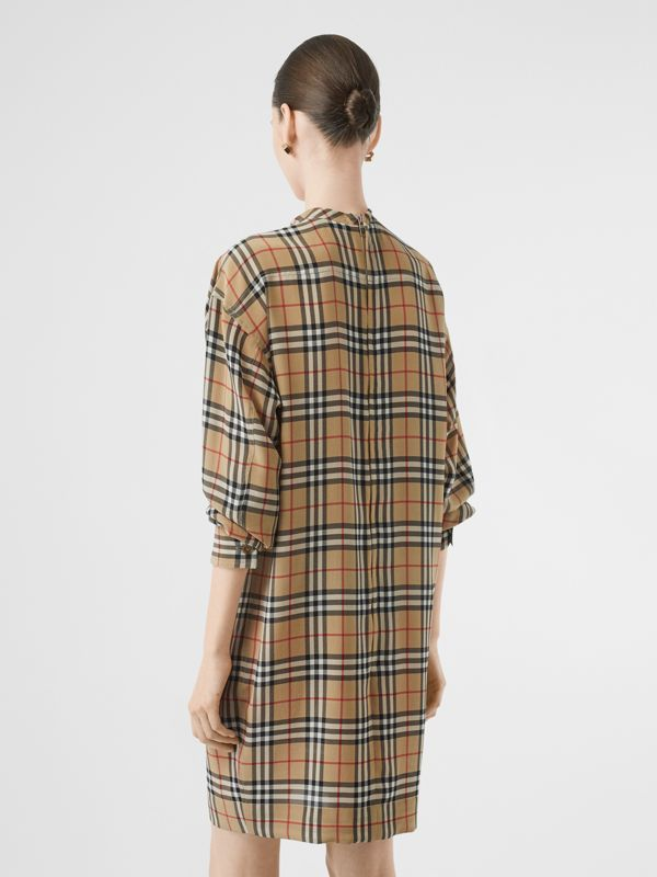 Vintage Check Silk Tie-neck Dress in Archive Beige - Women | Burberry Australia - cell image 2