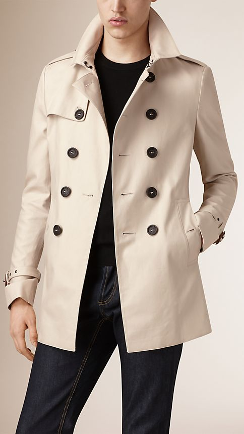Stone Cotton Gabardine Trench Coat - Image 1