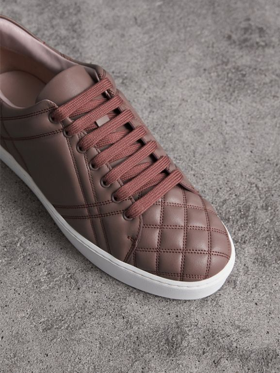 Check-quilted Leather Sneakers in Ivory Pink - Women | Burberry United Kingdom - cell image 1