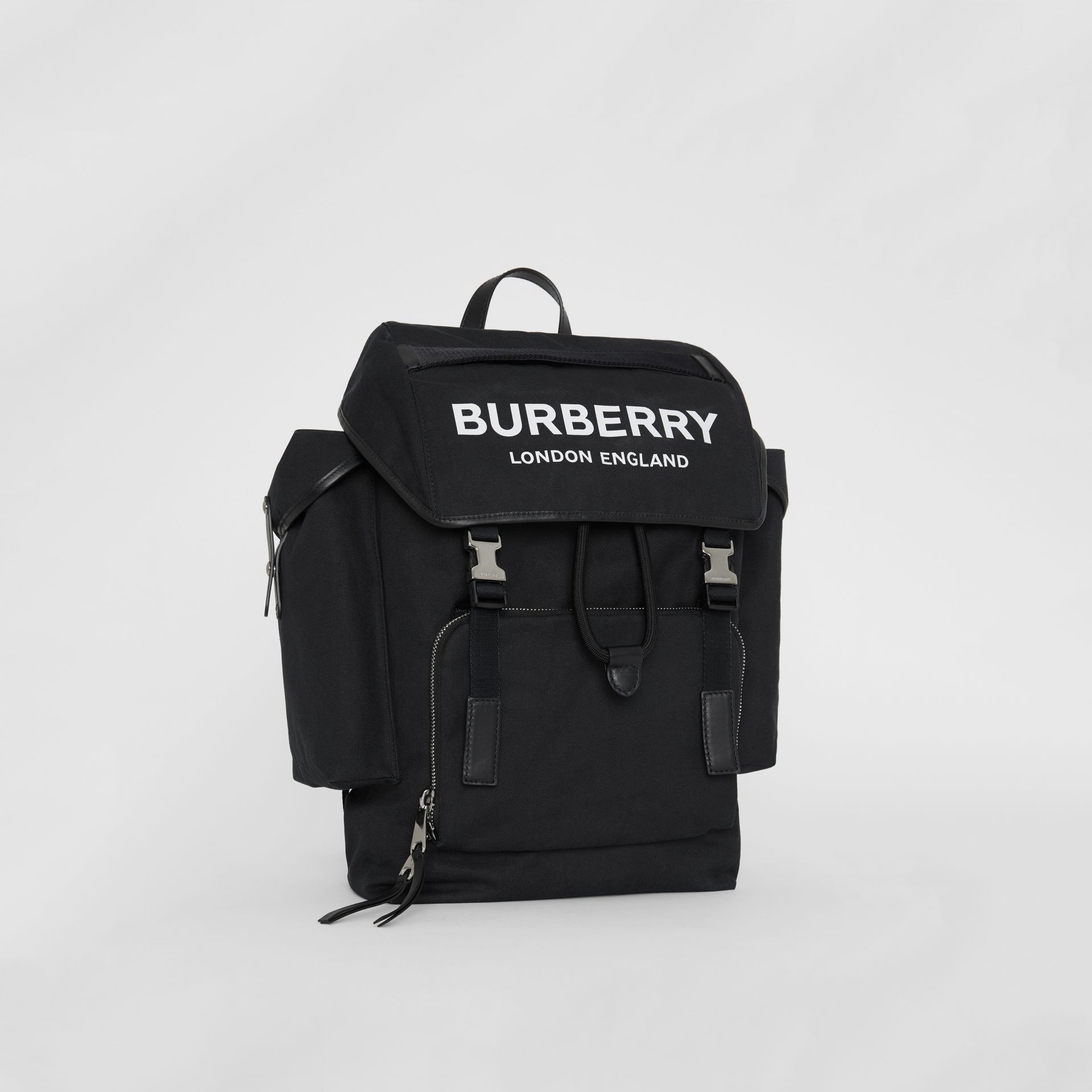 Medium Logo Detail Cotton Blend Backpack in Black - Men | Burberry - gallery image 4