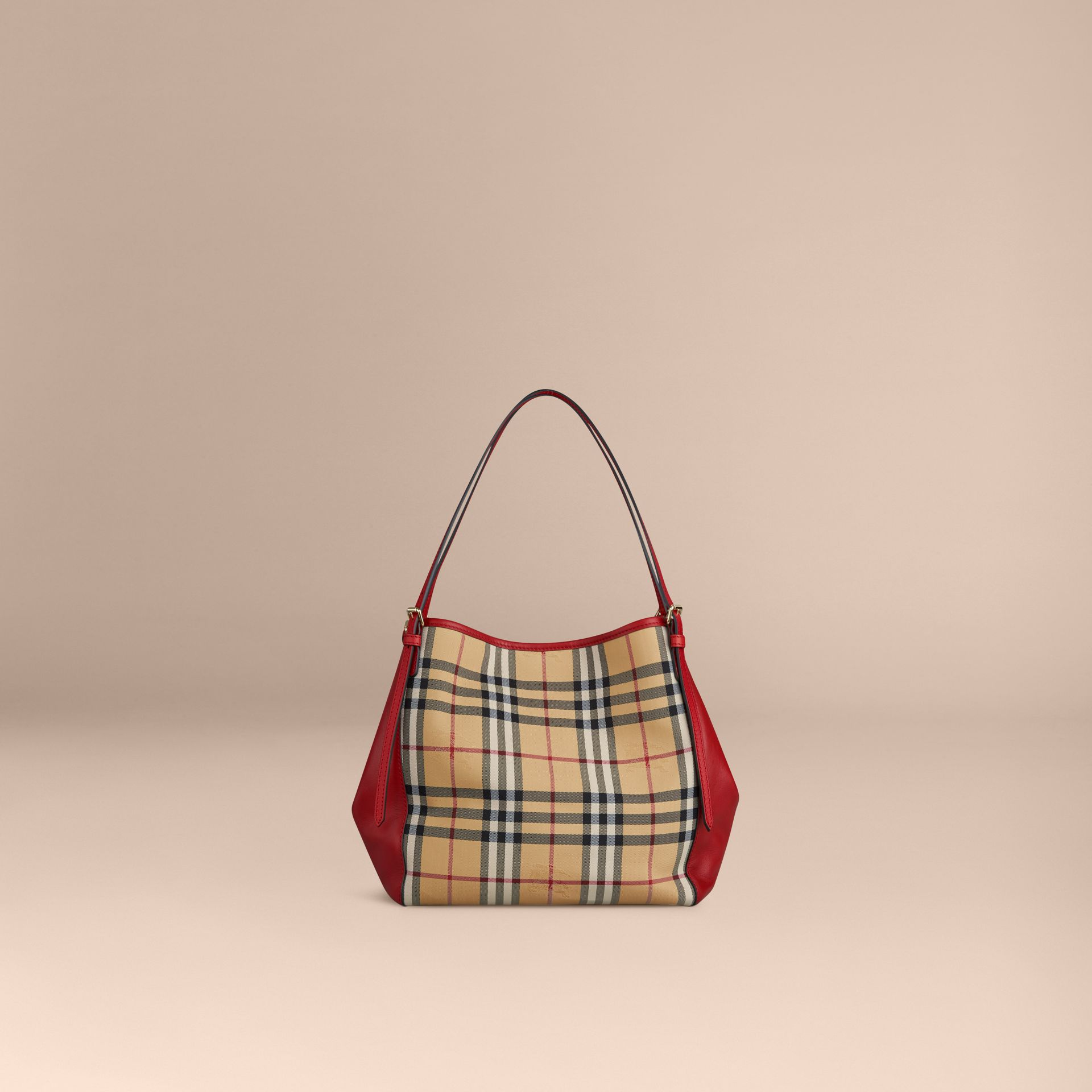 The Small Canter in Horseferry Check and Leather in Honey/parade Red - gallery image 4