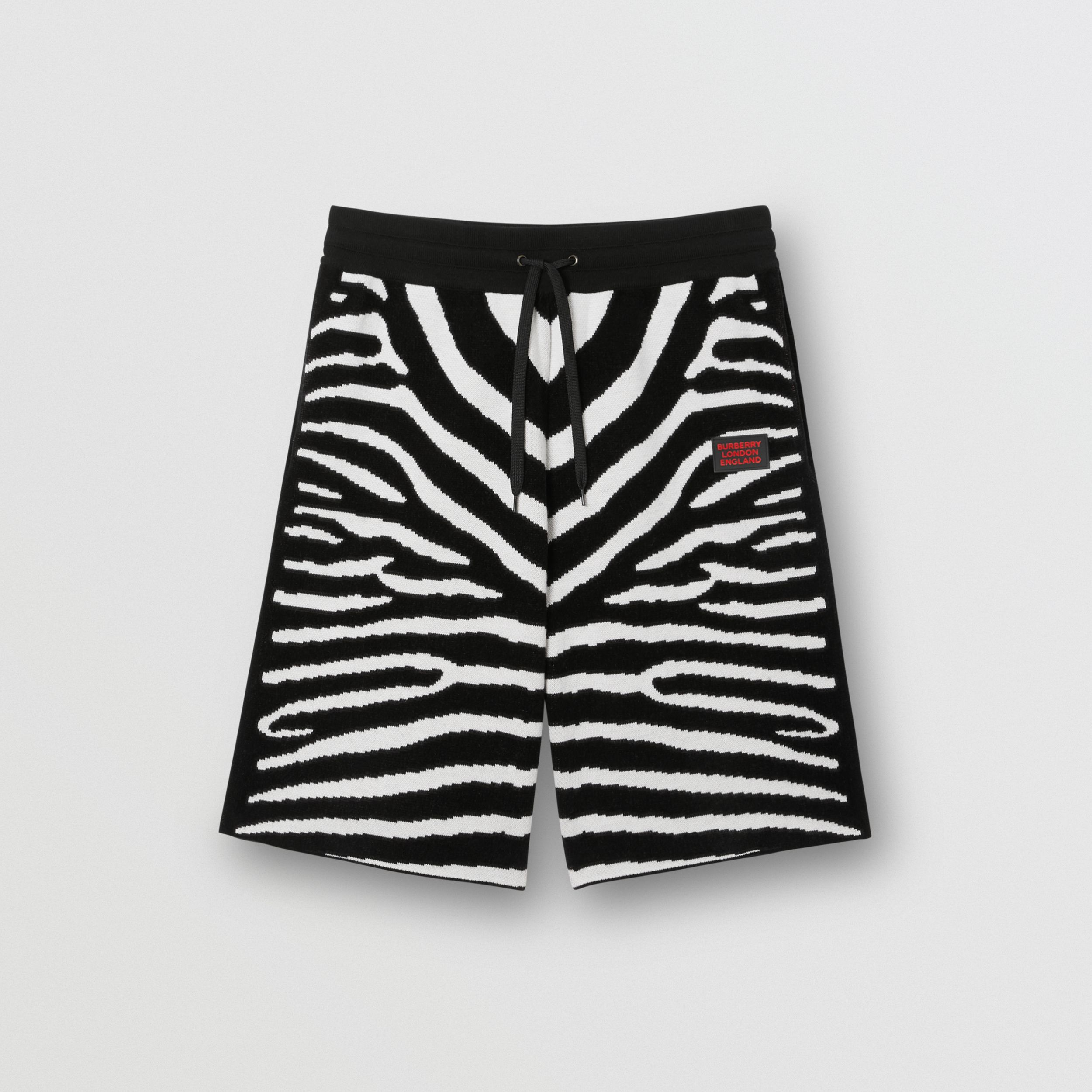 Zebra Wool Blend Jacquard Drawcord Shorts in Black - Men | Burberry Canada - 4