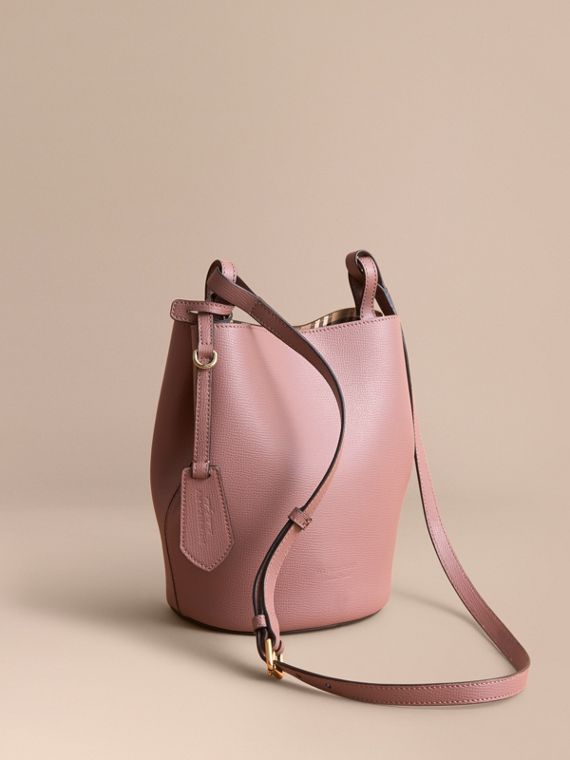 Leather and Haymarket Check Crossbody Bucket Bag Light Elderberry