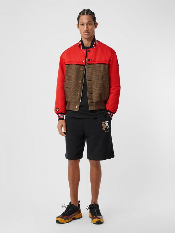 Track Top Panel Wool Bomber Jacket in Brown