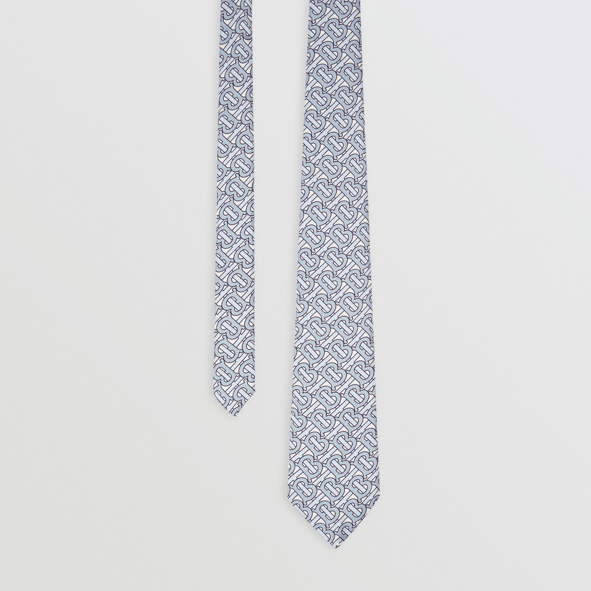 Classic Cut Monogram Print Silk Tie in Pale Blue - Men | Burberry - gallery image 0