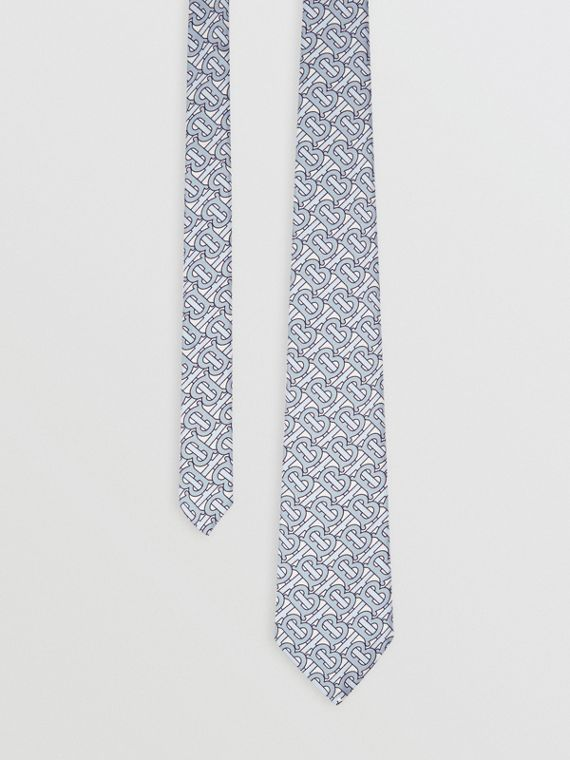 Classic Cut Monogram Print Silk Tie in Pale Blue