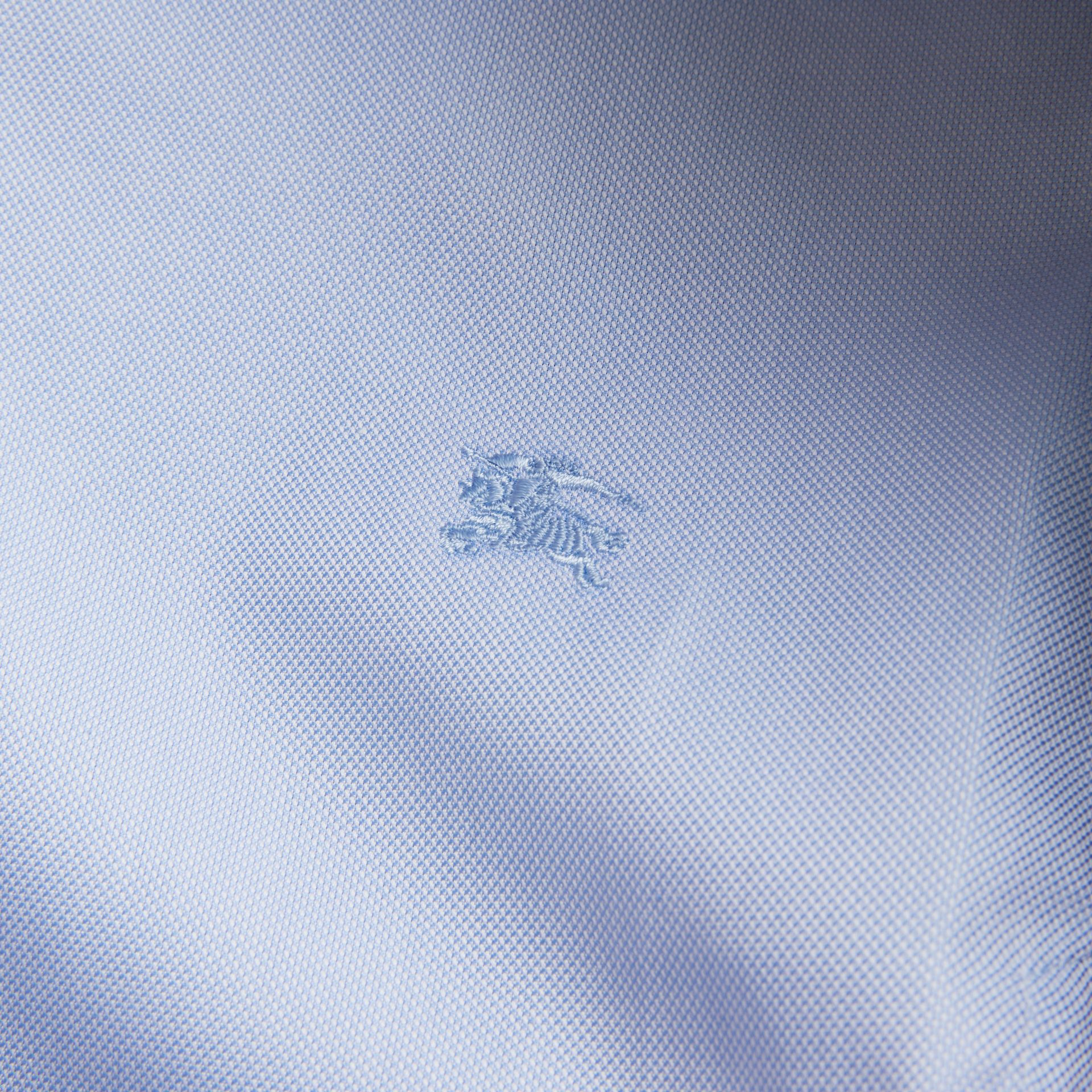 Modern Fit Double Cuff Cotton Shirt in Mid Blue - Men | Burberry - gallery image 5