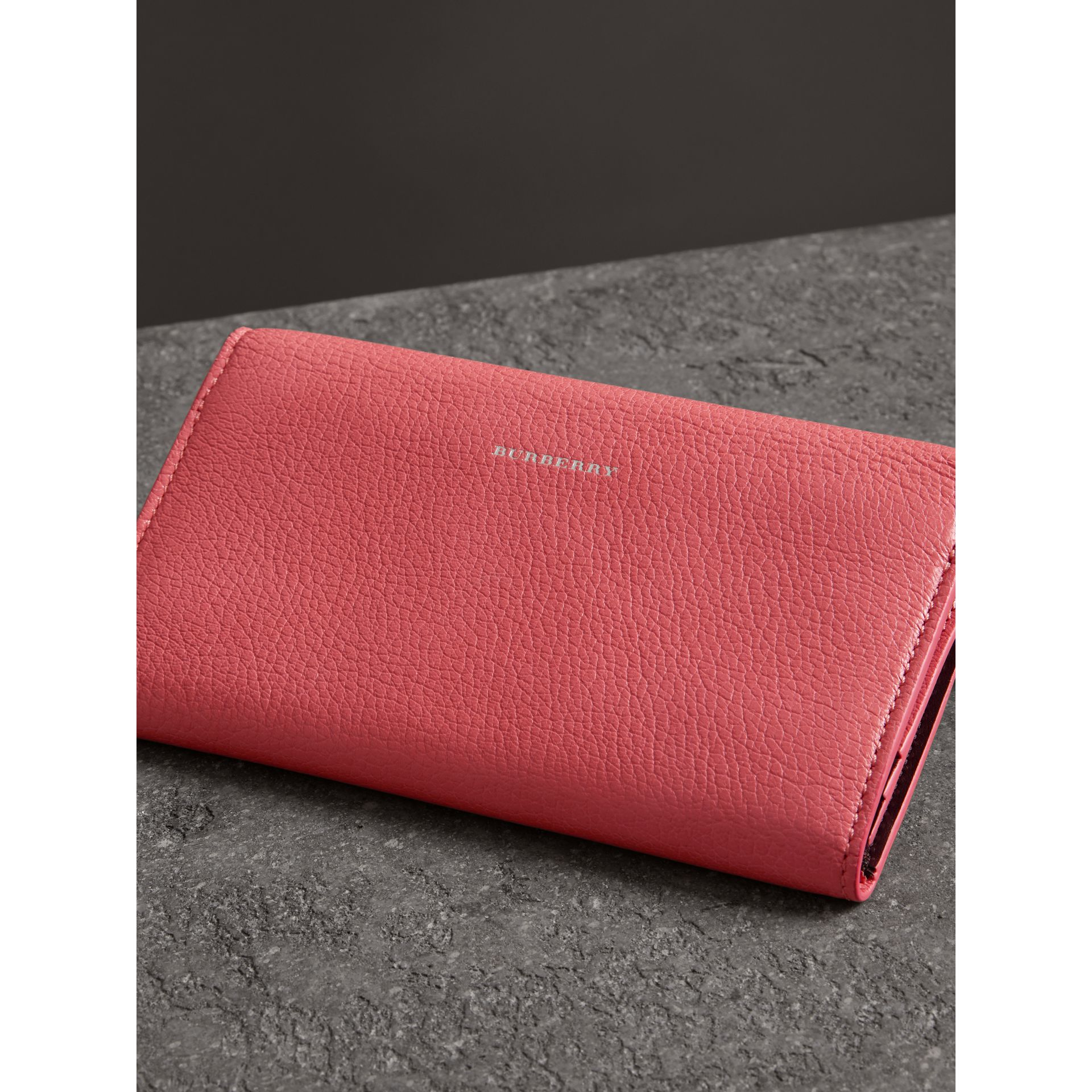 D-ring Grainy Leather Continental Wallet in Bright Coral Pink - Women | Burberry - gallery image 2