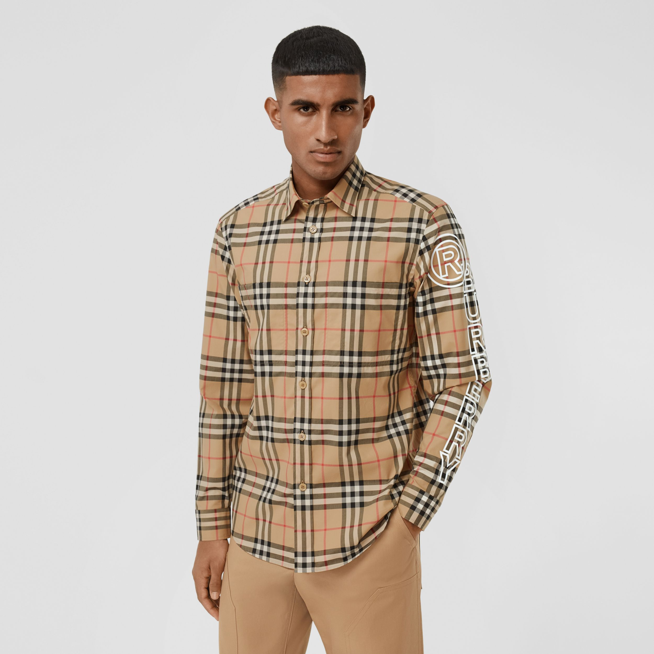 Logo Print Vintage Check Cotton Poplin Shirt in Archive Beige - Men | Burberry - 1