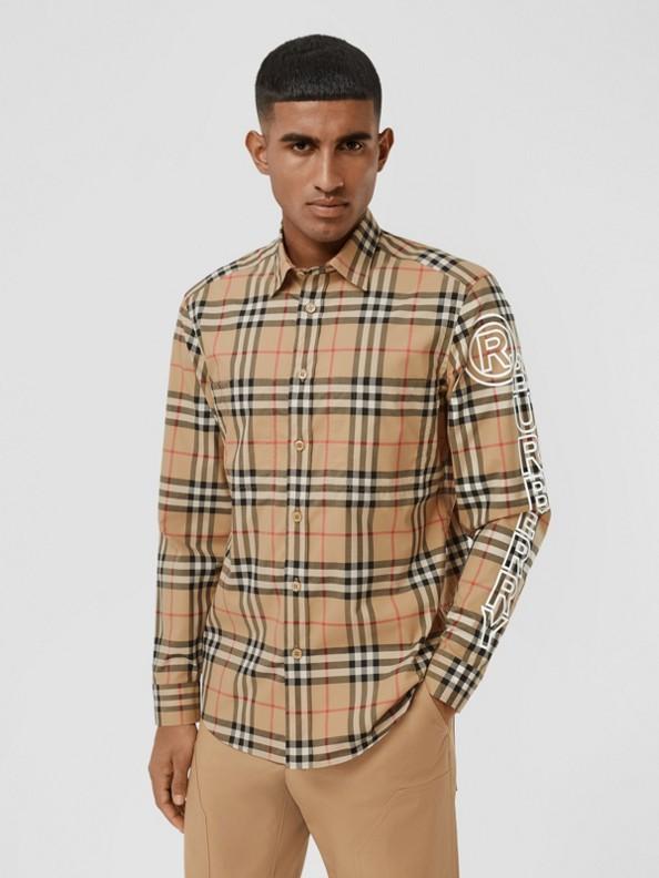 Camisa en popelina de algodón a cuadros Vintage Checks con logotipo (Beige)