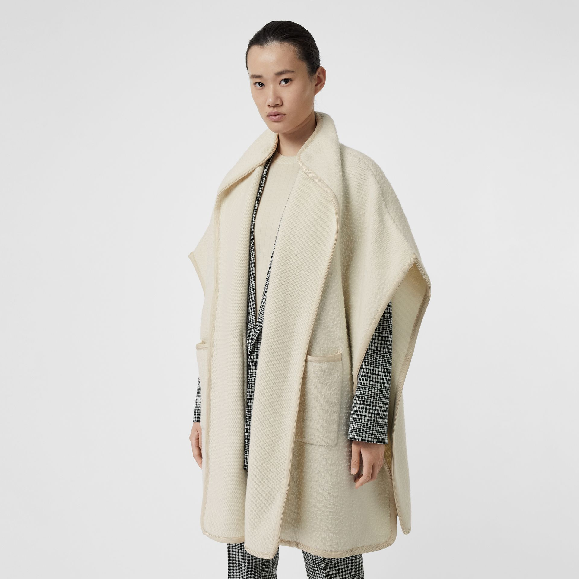 Wool Fleece Cape in Ivory - Women | Burberry - gallery image 4