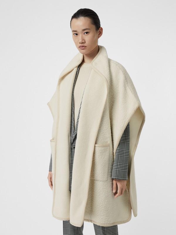 Wool Fleece Cape in Ivory - Women | Burberry - cell image 3