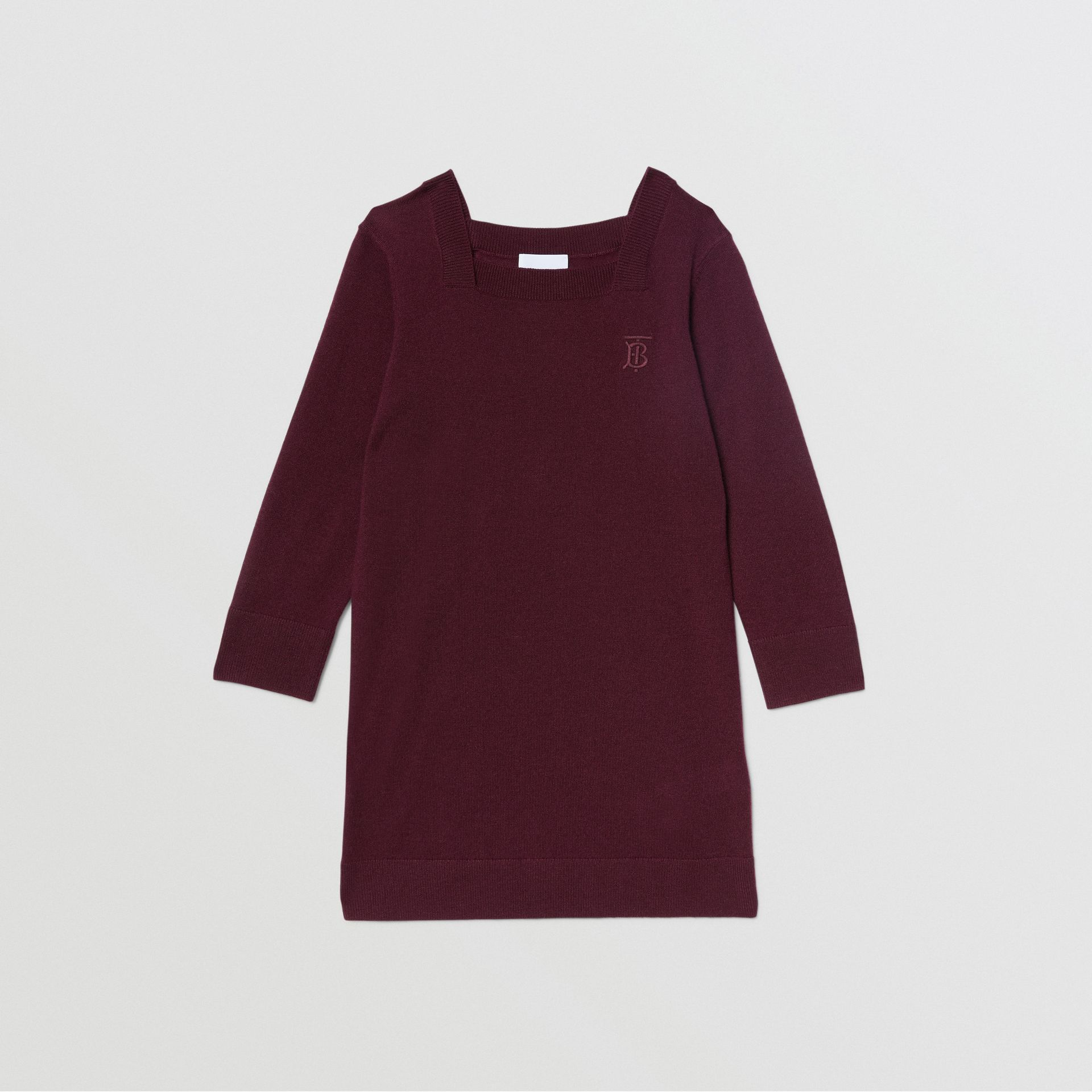 Monogram Motif Cashmere Sweater Dress in Burgundy | Burberry - gallery image 0