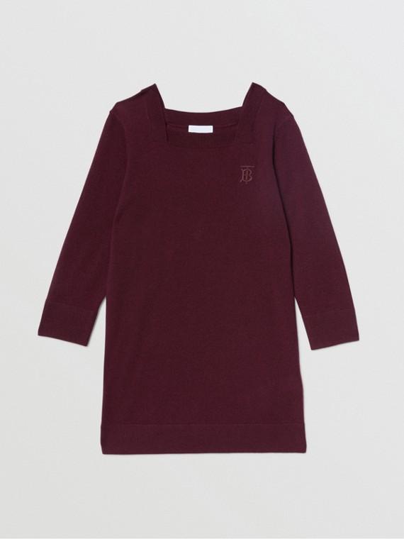 Monogram Motif Cashmere Sweater Dress in Burgundy