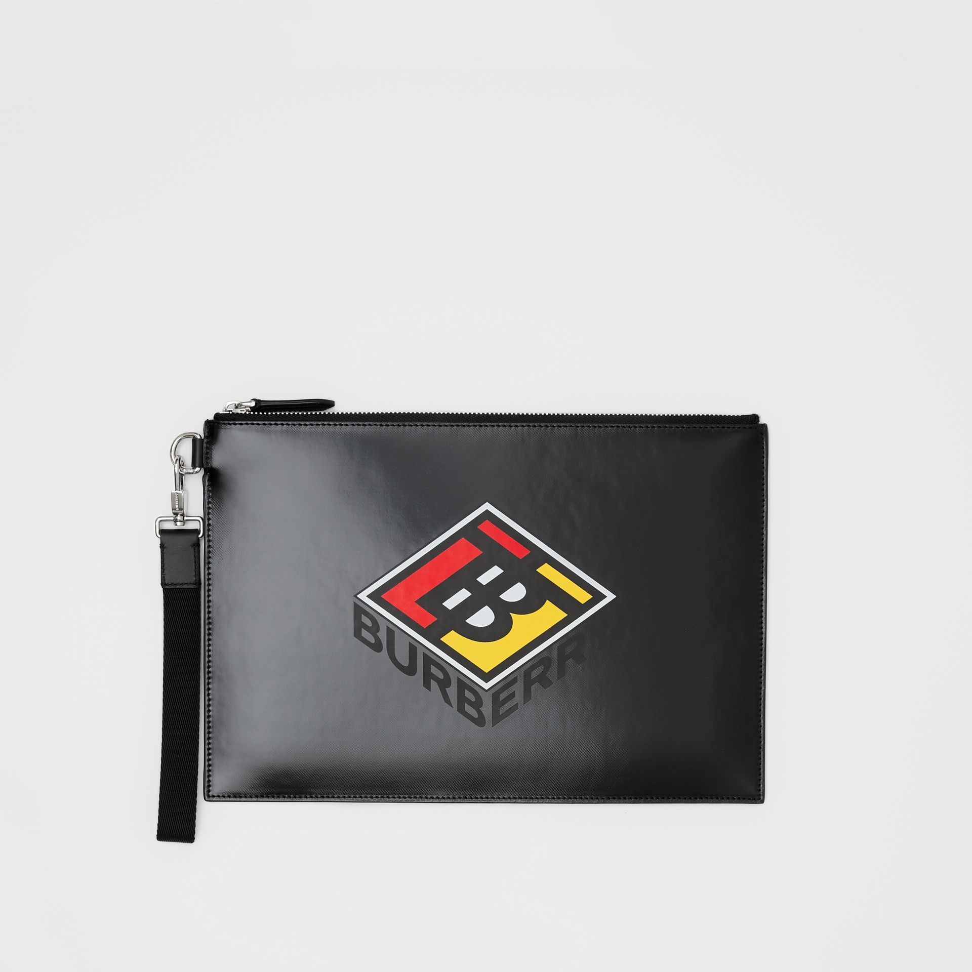 Logo Graphic Canvas Zip Pouch in Black | Burberry - gallery image 3
