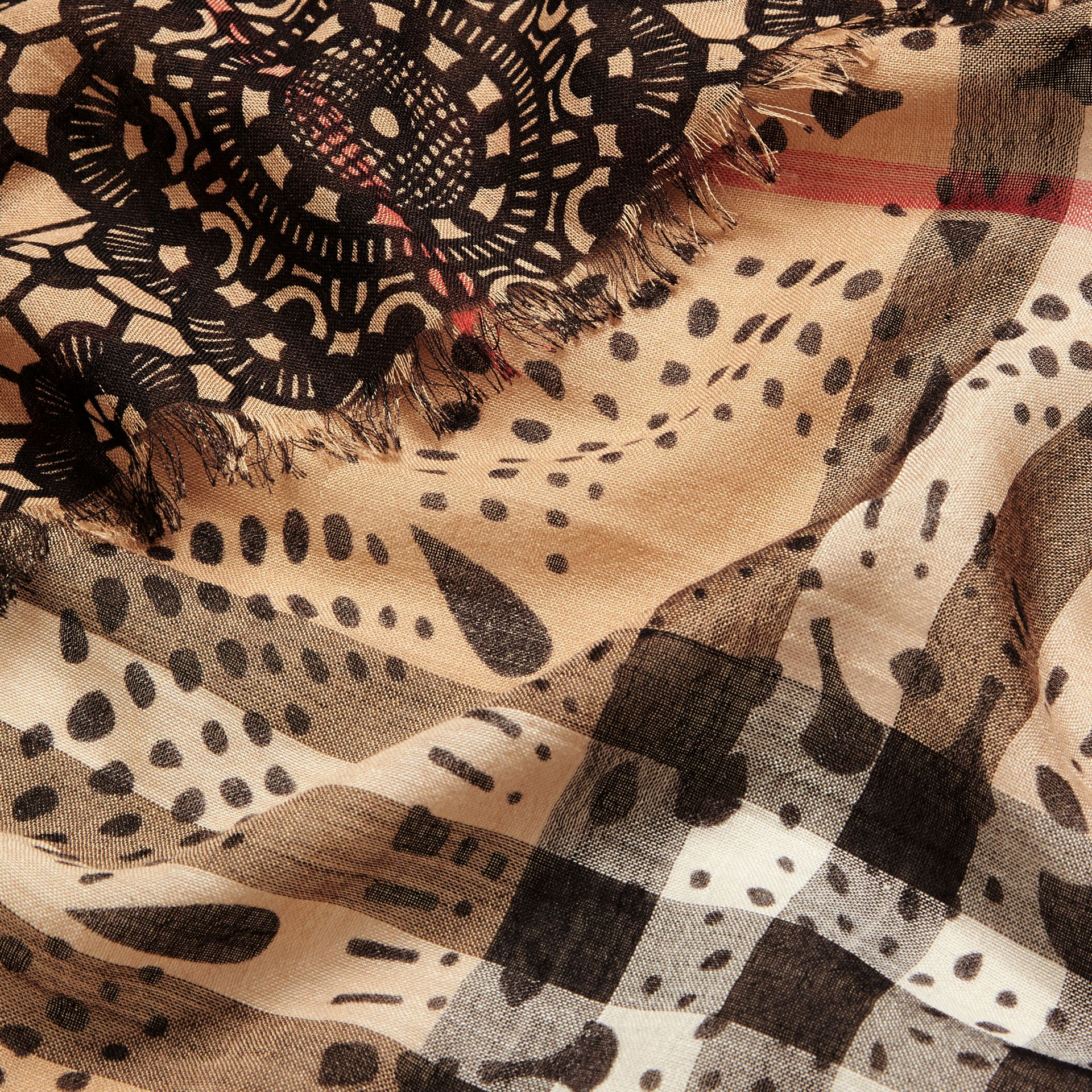 Camel/black Patchwork Lace Print Check Wool Silk Scarf - gallery image 2
