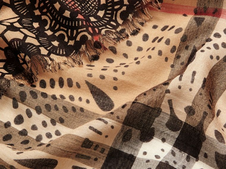 Camel/black Patchwork Lace Print Check Wool Silk Scarf - cell image 1