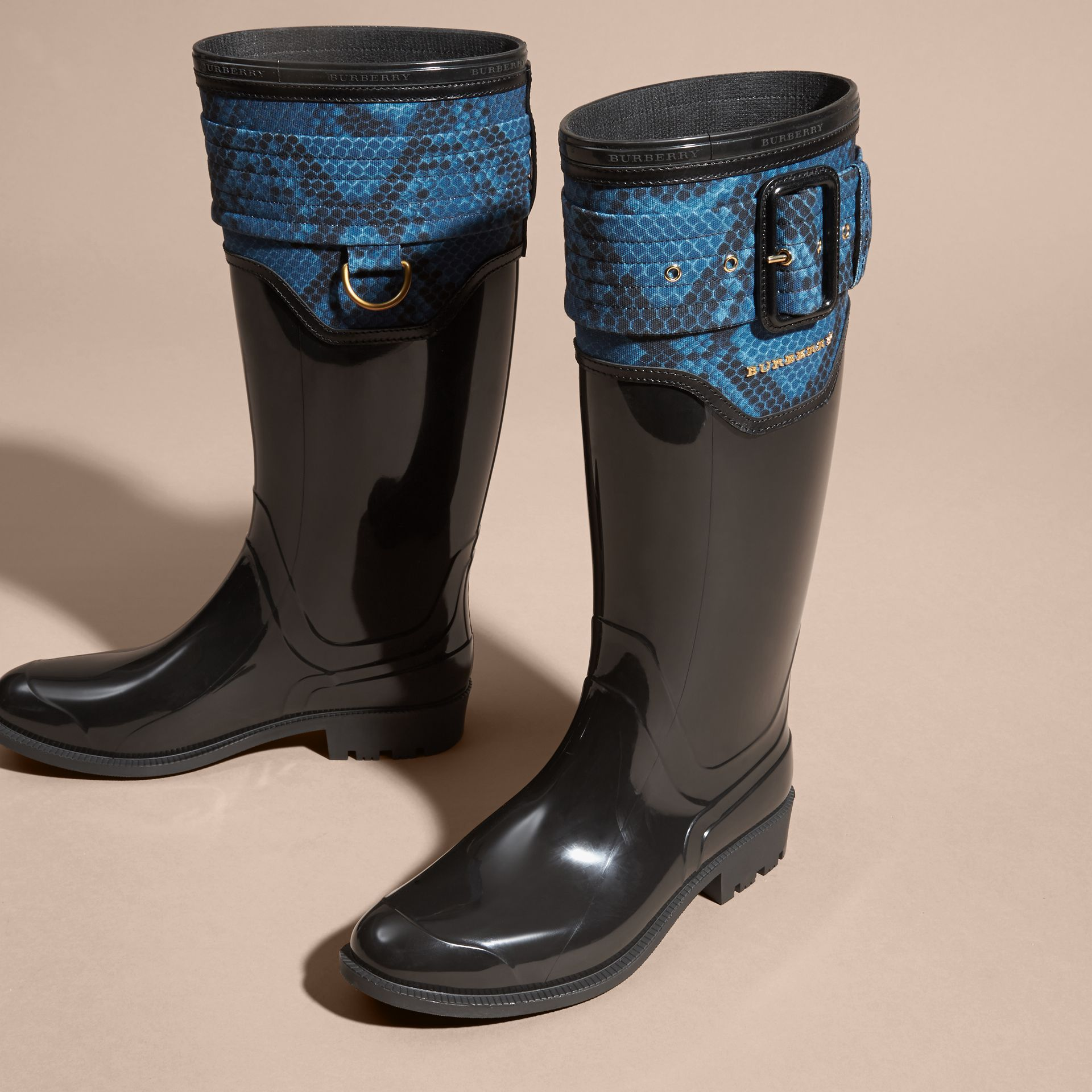 Black/mineral blue Python Print Detail Rain Boots - gallery image 3