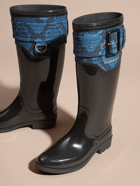 Black/mineral blue Python Print Detail Rain Boots - cell image 2