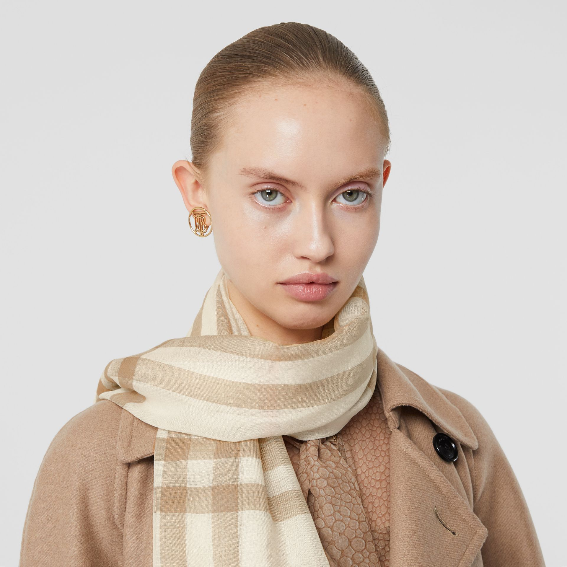 Lightweight Check Wool Silk Scarf in White/alabaster | Burberry - gallery image 2