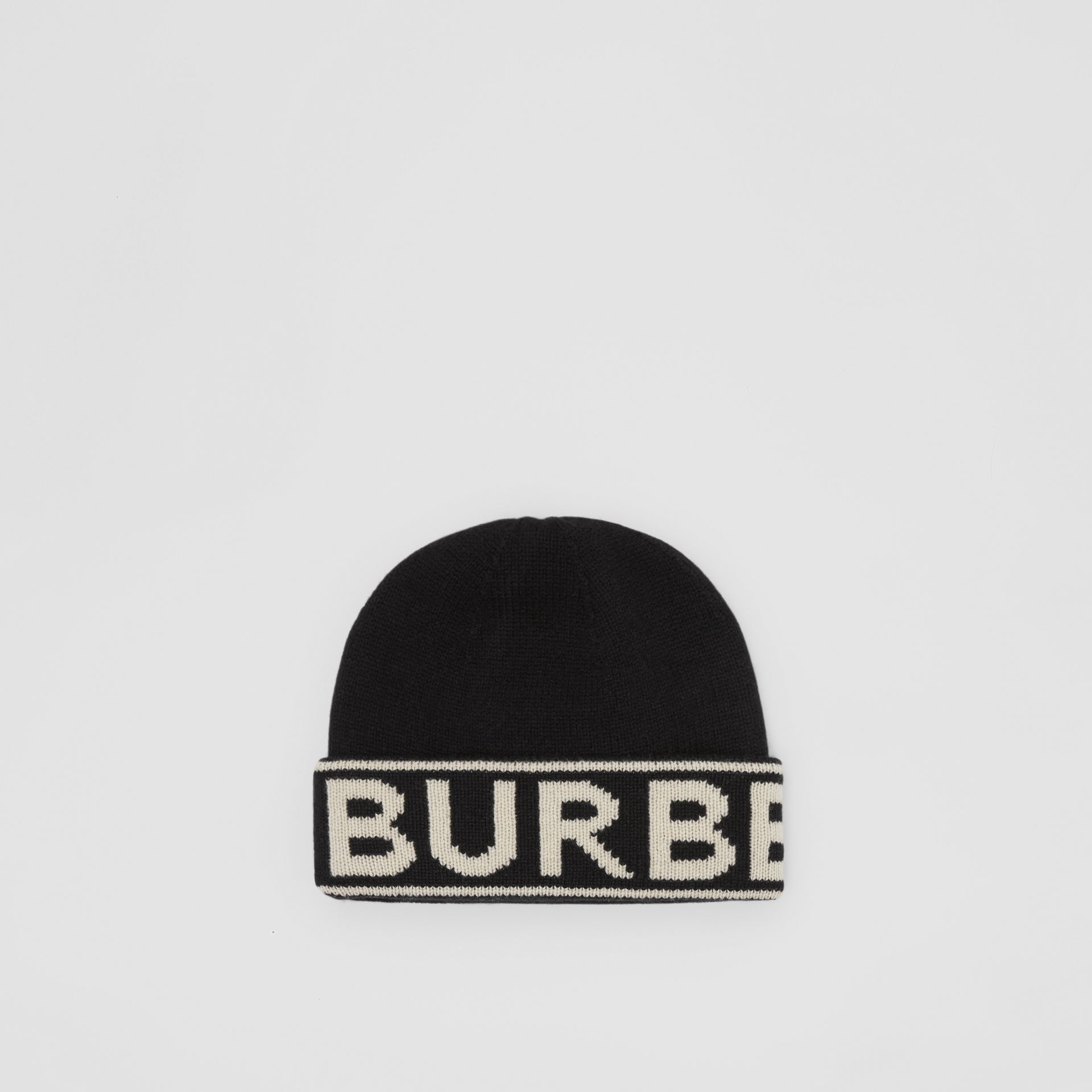 Logo Intarsia Cashmere Beanie in Black | Burberry - gallery image 0