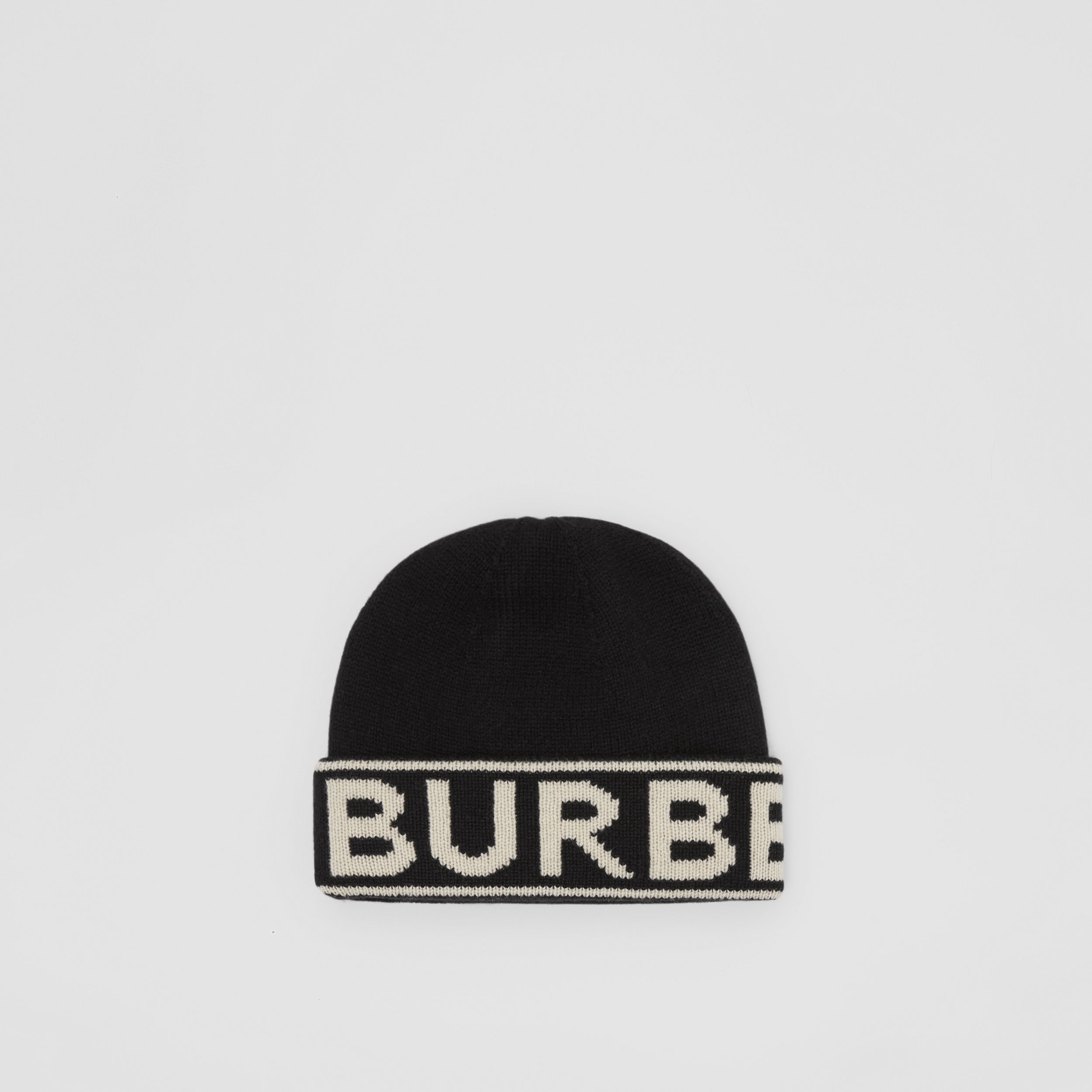Logo Intarsia Cashmere Beanie in Black | Burberry - 1