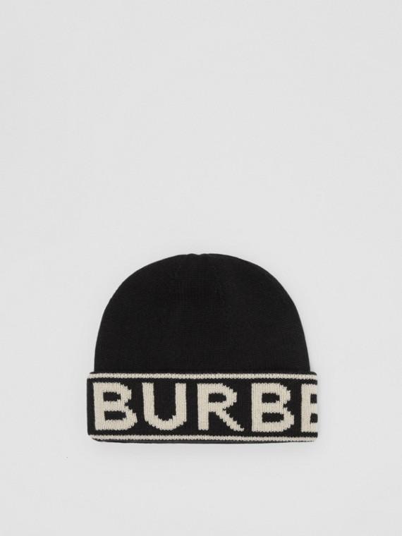 Bonnet en cachemire avec logo en intarsia (Noir)