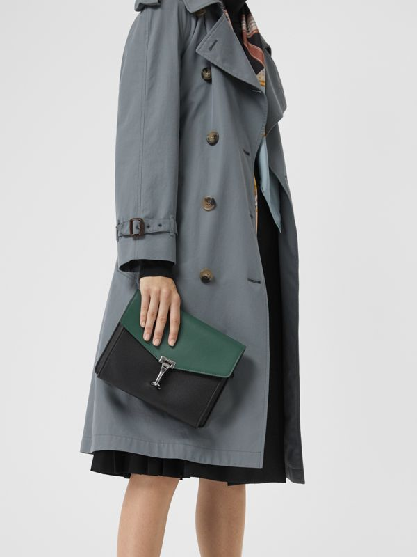 Two-tone Leather Crossbody Bag in Black/sea Green - Women | Burberry - cell image 3