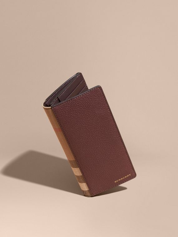 House Check and Grainy Leather Continental Wallet in Wine