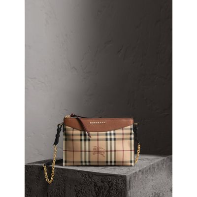 9f4ae4991b66 BURBERRY. HAYMARKET CHECK AND TWO-TONE LEATHER CLUTCH BAG
