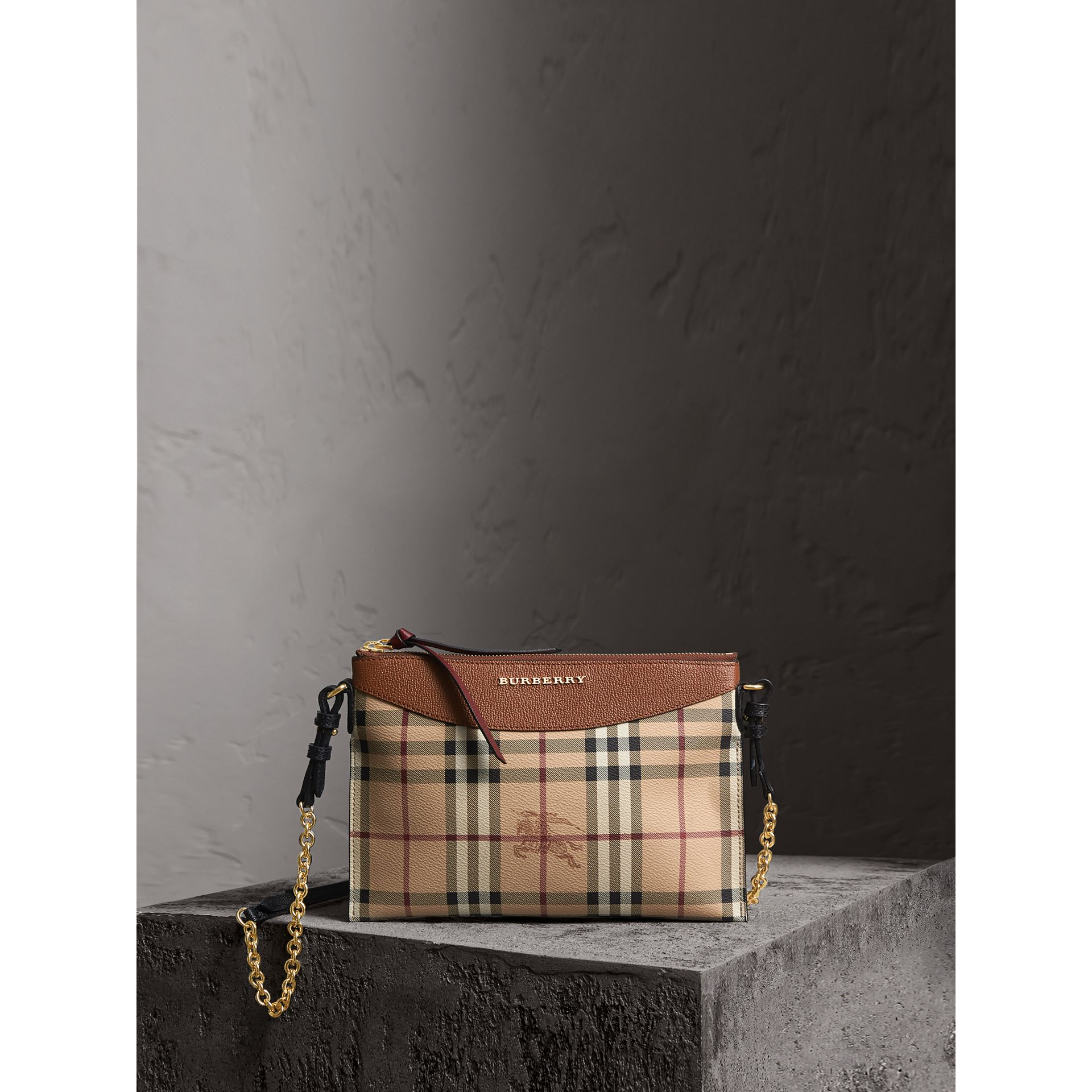 Haymarket Check and Two-tone Leather Clutch Bag in Bright Toffee/ Multicolour - Women | Burberry Australia - gallery image 1