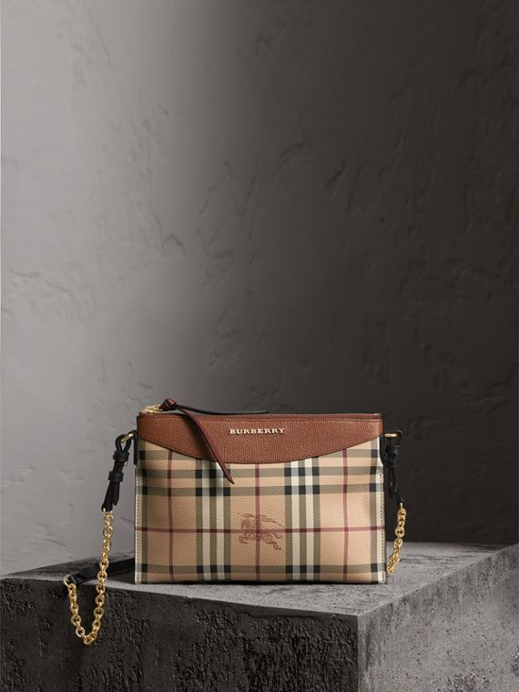 Haymarket Check and Two-tone Leather Clutch Bag in Bright Toffee/ Multicolour