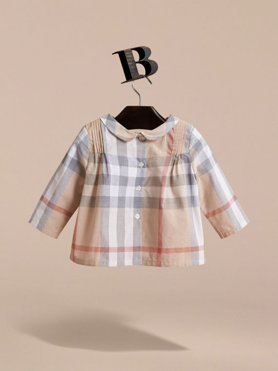 Peter Pan Collar Pintuck Detail Check Cotton Top in Pale Stone | Burberry - cell image 3