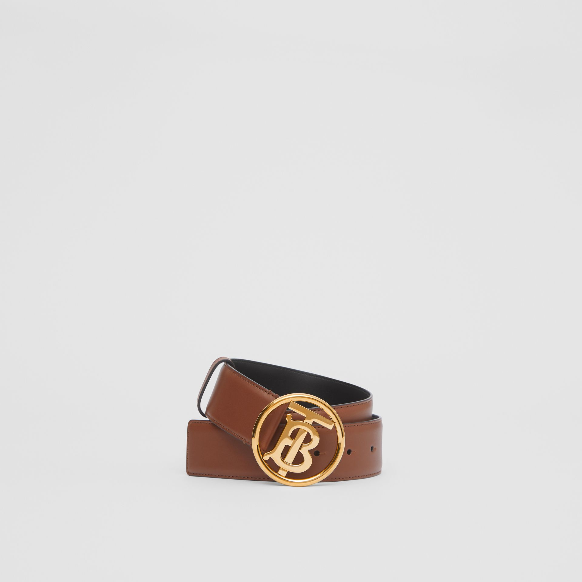 Monogram Motif Leather Belt in Tan/antique Dark Brass - Women | Burberry United Kingdom - gallery image 0